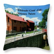 Whitewater Canal Locks Throw Pillow
