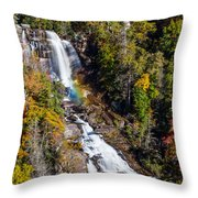 Whitewater Falls With Rainbow Throw Pillow