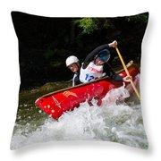 Whitewater Open Canoe Race Throw Pillow