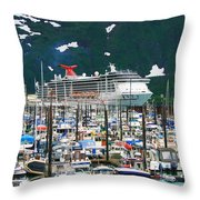 Whittier Alaska Boat Harbor Throw Pillow