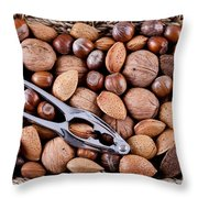 Whole Nuts In A Basket Throw Pillow