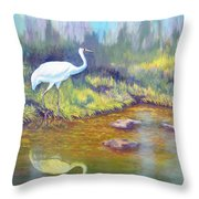 Whooping Crane - Searching For Frogs Throw Pillow