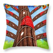 Why Pick On Me Guitar Abstract Tree Throw Pillow
