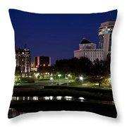 Wichita Skyline At Dusk Throw Pillow