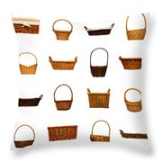 Wicker Basket Collection Throw Pillow