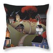 Wickford Village Halloween Ll Throw Pillow