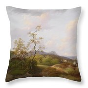 Wide Landscape With Shepherds Throw Pillow