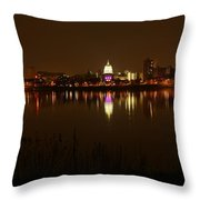 Wide Shot Of The City Skyline Throw Pillow
