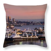 Wider Seattle Skyline And Rainier At Sunset From Magnolia Throw Pillow