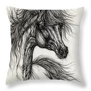 Wieza Wiatrow Polish Arabian Mare Drawing Throw Pillow