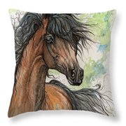 Wieza Wiatrow Polish Arabian Mare Watercolor Painting  Throw Pillow