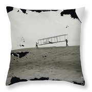 The Wright Brothers Wilbur In Motion At Left Holding One End Of Glider Throw Pillow