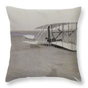The Wright Brothers Wilbur In Prone Position In Damaged Machine Throw Pillow