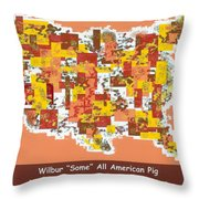 Wilbur Some All American Pig Throw Pillow by Barbara Snyder