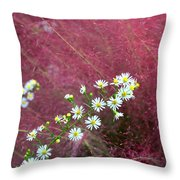 Wild Asters And Muhly Grass Throw Pillow