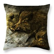 Wild Boars Running Across The Snow Throw Pillow