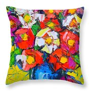 Wild Colorful Flowers Throw Pillow