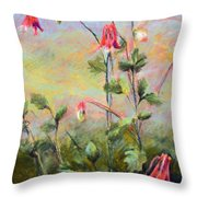 Wild Columbines Throw Pillow by Lenore Gaudet