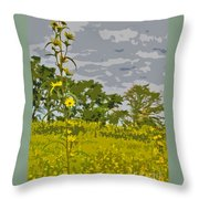 Wild Flower Field Abstract Throw Pillow