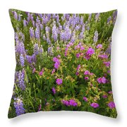 Wild Flowers Display Throw Pillow