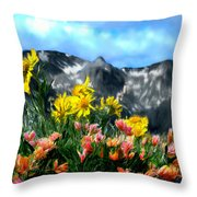 Wild Flowers In The Moutains Throw Pillow