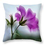 Wild Geranium Abstract Throw Pillow