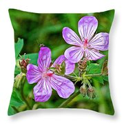 Wild Geranium On Trail To Swan Lake In Grand Teton National Park-wyoming Throw Pillow