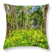 Wild Ginger And Ohia Trees Throw Pillow