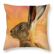 Wild Hare Throw Pillow by Tanya Hall