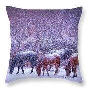 Wild Horse Christams Throw Pillow by Jeanne  Bencich-Nations
