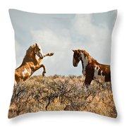Wild Horse Fight Throw Pillow
