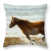 Wild Horse Running Through Water Throw Pillow