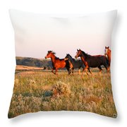 Wild Horses At Sunset Throw Pillow