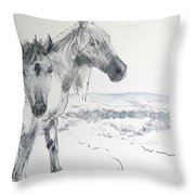 Wild Horses Drawing Throw Pillow