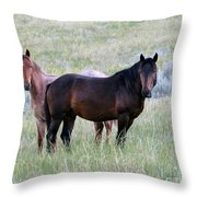Wild Horses In The Badlands Throw Pillow