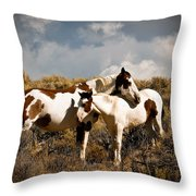Wild Horses Mother And Child Throw Pillow