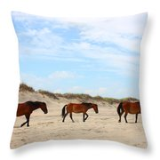 Wild Horses Of Corolla - Outer Banks Obx Throw Pillow