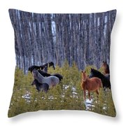 Wild Horses Of The Ghost Forest Throw Pillow