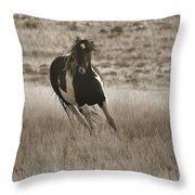 Wild Horses-sepia-signed-#7288 Throw Pillow
