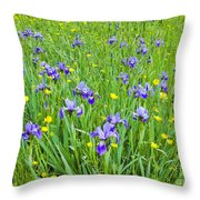 Wild Iris Patch Throw Pillow