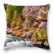 Wild Mountain River Throw Pillow