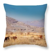 Wild Nevada Mustang Herd Throw Pillow