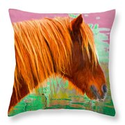 Wild Pony Abstract Throw Pillow