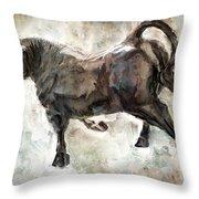 Wild Raging Bull Throw Pillow