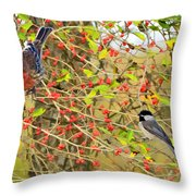 Wild Red Berrie Bush With Birds - Digital Paint Throw Pillow