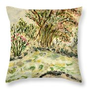 Wild Rhododendrons Near The River Throw Pillow