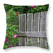Wild Roses And Weathered Fence Throw Pillow