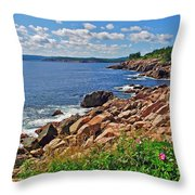 Wild Roses At Lakies Head In Cape Breton Highlands Np-ns Throw Pillow