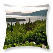 Wild Roses At Photographer's Point Overlooking Bonne Bay In Gros Morne Np-nl Throw Pillow