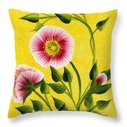 Wild Roses On Yellow Throw Pillow